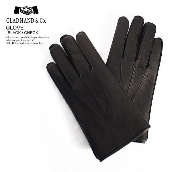 グラッドハンド GLAD HAND GLOVE -BLACK/CHECK- レディース メンズ 秋 冬 グローブ 手袋 レザー 透湿 防水 鹿革 送料無料 おしゃれ かっこいい カジュアル ファッション ストリート 秋物 冬物 gladhand