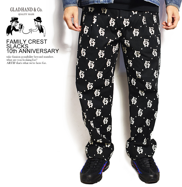 グラッドハンド GLAD HAND FAMILY CREST SLACKS