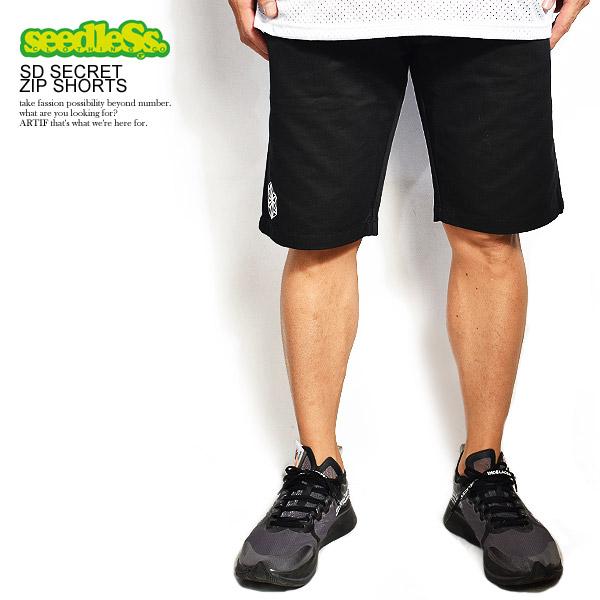 シードレス seedleSs sd secret zip shorts sd19sp-st01 レディース メンズ ショーツ ショートパンツ ハーフパンツ ストリート ファッション 送料無料 おしゃれ かっこいい カジュアル ファッション seedless
