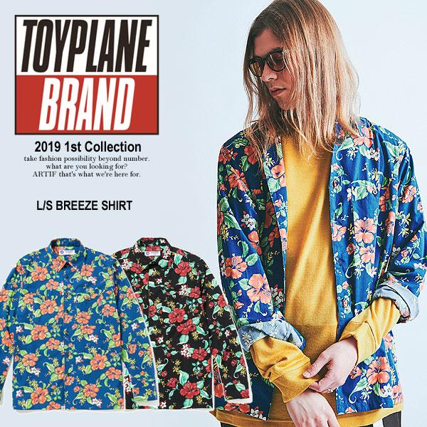 トイプレーン TOYPLANE L/S BREEZE SHIRT toyplane メンズ シャツ 長袖 ストリート 総柄 送料無料