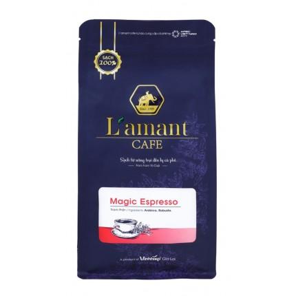 朝食のフランスパンとハムエッグにはヨーロッパの香りのするベトナムコーヒーをお奨めします ベトナムコーヒーは昔フランス人が育てたよき時代のヨーロッパの味のするコーヒーです コーヒー豆 ベトナムコーヒー ベトナム有機コーヒー 豆粒 セール商品 特別取寄品 LAMANT ESPRESSO MAGIC お洒落 200XgrX2袋セットベトナム政府御用達の最高級有機コーヒー