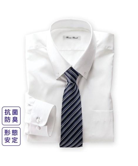 S M L ワイシャツ ビジネス メンズ 現品 抗菌防臭形態安定 ご注文で当日配送 長袖 ボタンダウン ニッセン 標準シルエット nissen 白