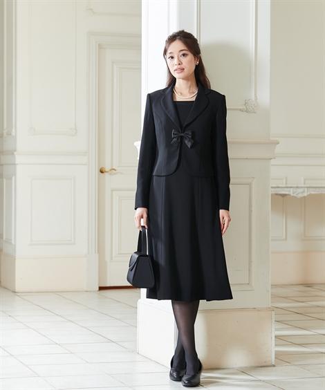 喪服・ブラックフォーマル(礼服)|【オールシーズン】テーラードアンサンブル(ジャケット+前開きセミフレアワンピース)_ニッセン_nissen