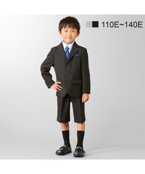 フォーマルウェア・フォーマルワンピース 【卒園式・入学式】【もっとゆったりサイズ】フォーマルスーツ3点セット(ジャケット+シャツ+5分丈パンツ)(ネクタイ・ポケットチーフ