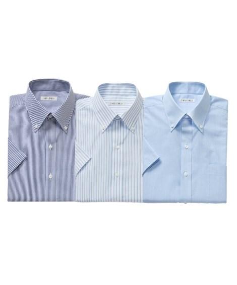 ワイシャツ 大きいサイズ ビジネス メンズ 抗菌防臭形態安定 半袖 3枚組 ボタンダウン 標準シルエット 年中 ブルー系3枚組 5L/6L ニッセン