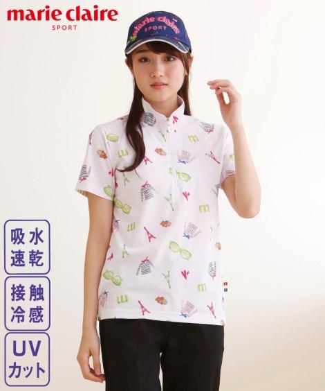 スポーツウェア・フィットネスウェア marieclaireSPORT UVカット・吸水速乾・接触冷感半袖ジップシャツ ニッセン nissen