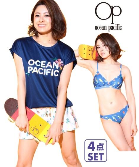 ニッセン 水着・ラッシュガード OP Tシャツ付ビキニ水着4点セット 9~11 nissen