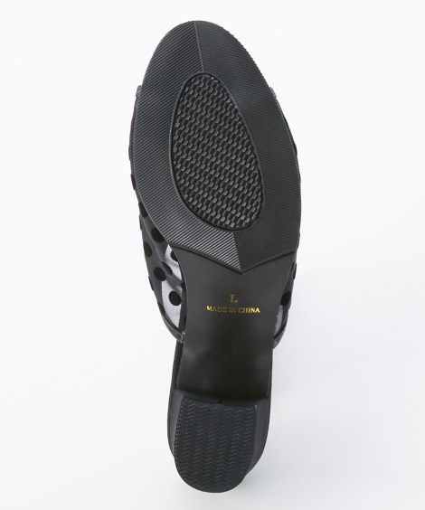 サンダル レディース シースルードット柄チュールチャンキーヒール ミュール 靴 黒 22.5~23.0/23.0~23.5/24.0~24.5cm ニッセン