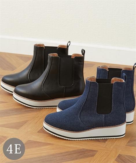 靴 大きいサイズ レディース サイドゴア厚底 シューズ 低反発中敷 ワイズ4E デニムネイビー/ブラック 26.0~26.5cm ニッセン