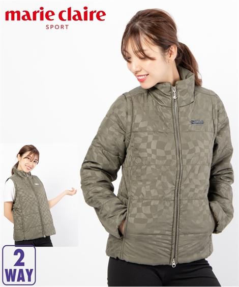 marie-claire レディース marieclaireSPORT 幾何柄2WAYジャケット 年中 スポーツウェア カーキ M/L/LL/3L ニッセン