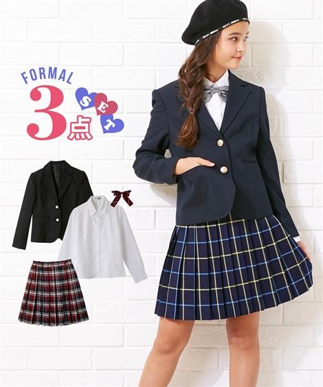 フォーマルウェア・フォーマルワンピース 【卒業式】フォーマル3点セット(ジャケット+ブラウス+チェックスカート)(女の子 子供服 ジュニア服) ニッセン nissen