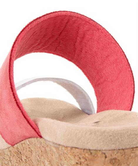 サンダル 大きいサイズ レディース ふわふわな クッション のW ストラップ ウェッジ ミュール ワイズ4E 靴 イエロー/ターコイズブルー/ピンク/ベージュ/黒 26.0~26.5cm ニッセン
