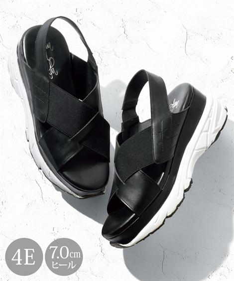 サンダル 大きいサイズ レディース クロス スニーカー 低反発中敷 ワイズ4E 靴 黒 26.0~26.5cm ニッセン