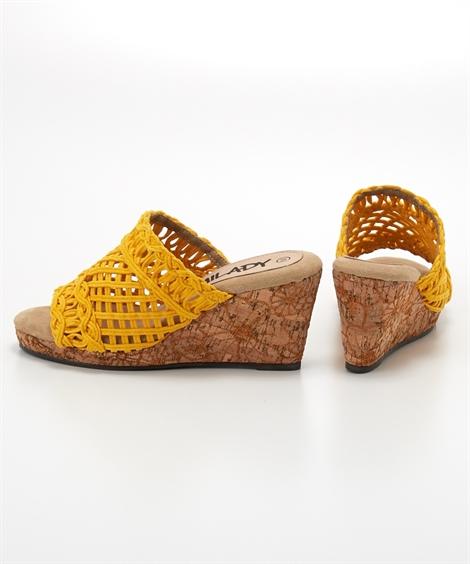 靴(シューズ) フラワーソールメッシュウェッジサンダル ニッセン nissen