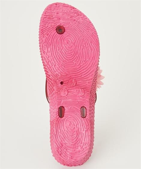 靴(シューズ) ふわふわフラワーモチーフサンダル ニッセン nissen