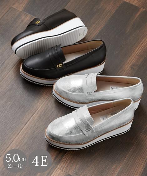 シューズ カジュアル 大きいサイズ レディース 厚底 ローファー 低反発中敷 ワイズ4E 靴 シルバー/ブラック 26.0~26.5cm ニッセン
