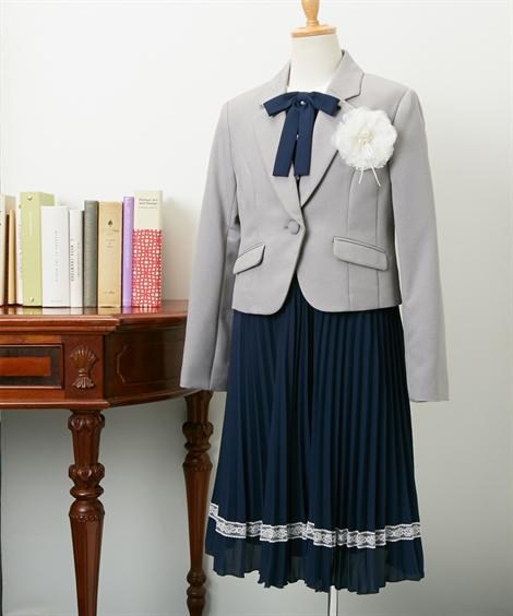 スーツ フォーマル キッズ ジャケット + ワンピース 女の子 子供服 ジュニア服 ウェア グレー 身長140/150cm ニッセン