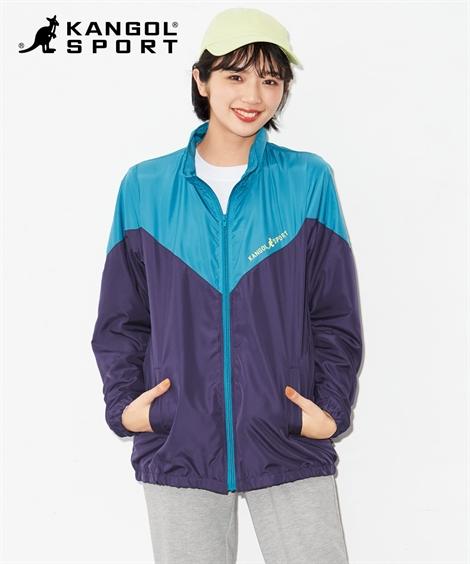 大きいサイズ レディース 配色 ブルゾン KANGOL SPORT ジャケット ピンク×黒/ブルーグリーン×パープル 4L/5L/6L ニッセン