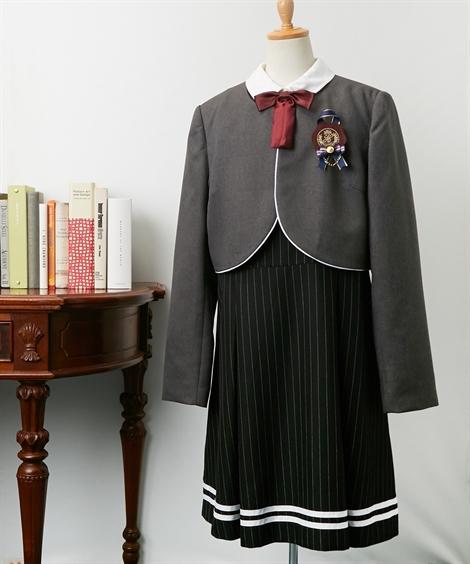 スーツ フォーマル キッズ ヒロミチナカノ ジャケット + ワンピース 女の子 子供服 ジュニア服 ウェア チャコール/黒 身長150/160/165cm ニッセン