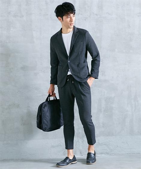 アウター ニット素材ストレッチ素材セットアップスーツ(ジャケット+パンツ) ニッセン nissen