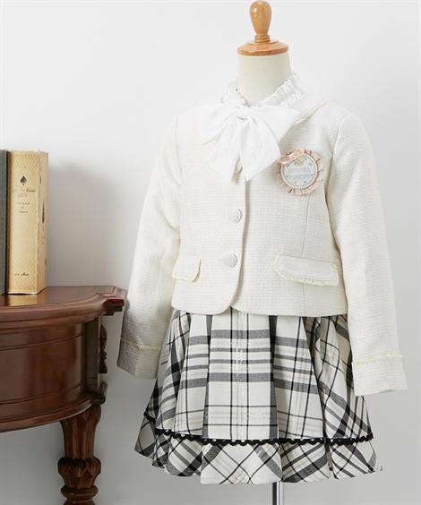 スーツ フォーマル キッズ ジャケット + スカート ブラウス 女の子 子供服 ウェア オフホワイト 身長120/130cm ニッセン