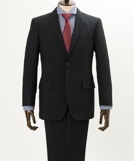 スーツ ビジネス メンズ ウォッシャブル シングル 2つボタン+ノータック パンツ 黒 A4~BB7 ニッセン