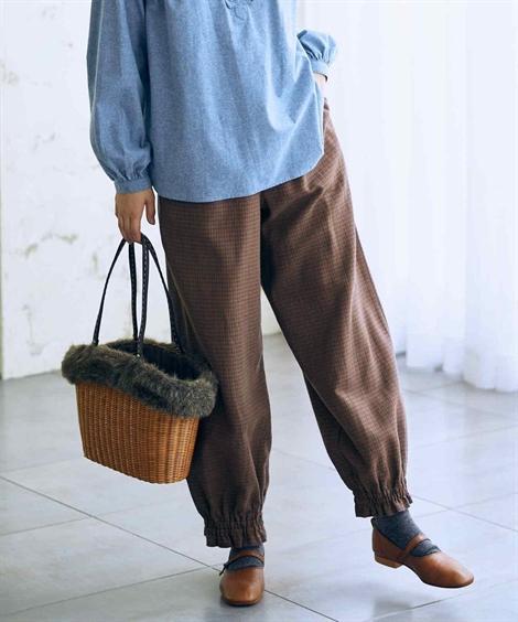 パンツ 麻混9分丈裾絞りチェック柄パンツ ニッセン nissen
