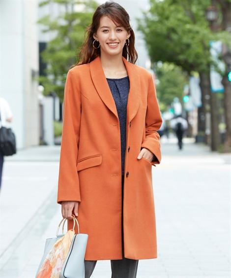 コート 大きいサイズ レディース ショール カラー オレンジ/黒 4L/5L/6L ニッセン