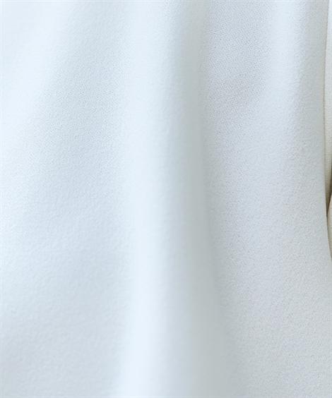 フォーマルパンツスーツ トールサイズ_楽ちんカットソーフォーマル3点セット(ジャケット+八分袖ティアードフリルブラウス+パンツ)_ニッセン