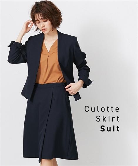 スーツ 大きいサイズ レディース ペプラム仕様 体型カバー スカート見え キュロット カラーレス ジャケット + ネイビー/黒 8L ニッセン