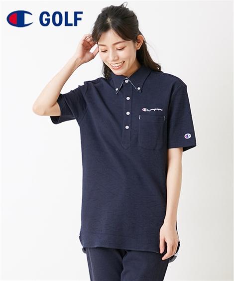 スポーツウェア・フィットネスウェア チャンピオンゴルフ シアサッカーポロシャツ(男女兼用) ニッセン nissen