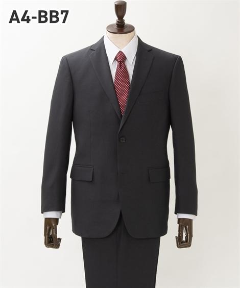 ウエスト、単位:cm シングル 2つボタン+ノータック パンツ ニッセン メンズ スーツ 身長 ウォッシャブル チャコール A4:165_78~BB7:180_98 ビジネス