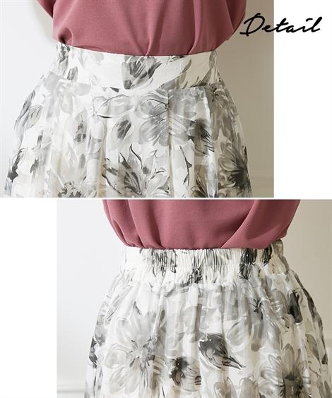 ひざ丈スカート|大き目花柄プリントフレアスカート(ウオッシャブル素材)_ニッセン_nissen