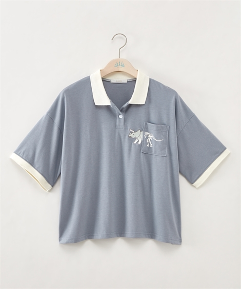 3L 4L ポロシャツ 大きいサイズ レディース 配色 販売実績No.1 国内在庫 オフホワイト ブルー ショート丈 nissen ニッセン