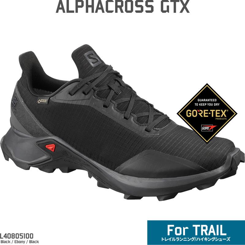 ≪1027 arrival >> 19 Salomon alpha cross Gore Tex SALOMON ALPHACROSS GTX L40805100 black trail running shoes men hiking wide [WIN TR] in the fall and
