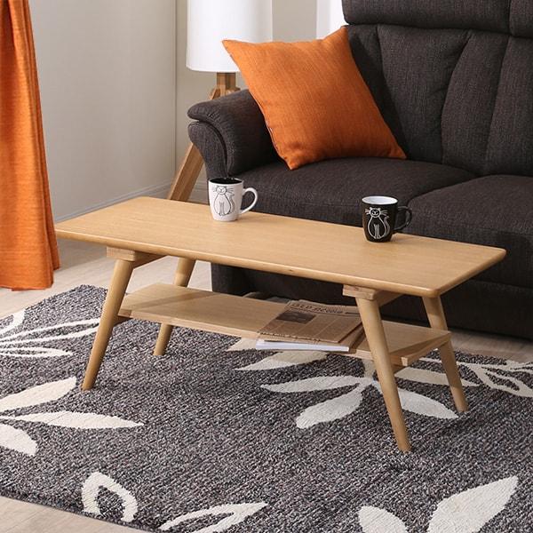 カフェの雰囲気 棚付き天然木センターテーブル(セーブル2 LBR) ニトリ 【玄関先迄納品】 【1年保証】