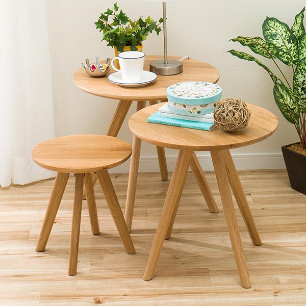 サイドテーブル(オーク(3コセット)) ニトリ 【玄関先迄納品】 【1年保証】