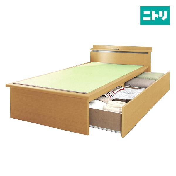 シングル畳ベッドフレーム(セイカ2JP-C 引出付き LBR) ニトリ 【配送員設置】 【5年保証】