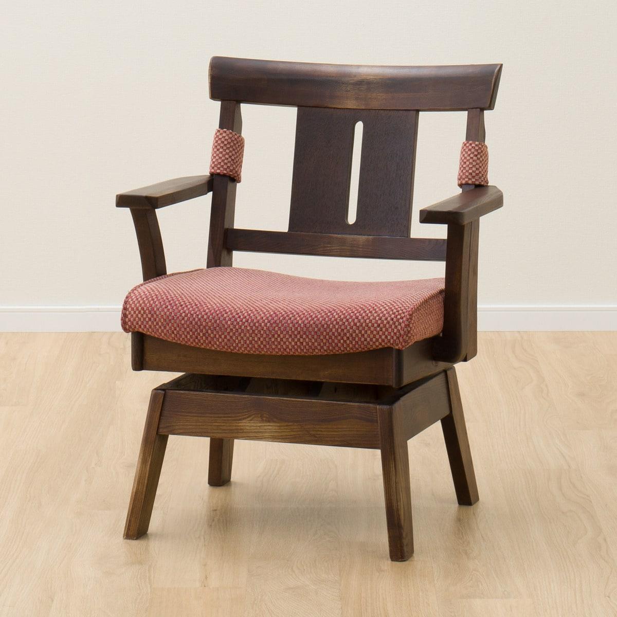 椅子 イス いす 食卓 ダイニングチェアー 木製 注目ブランド 和 幅64cm 天然木回転式ダイニングチェア リョウヒジカイテン 玄関先迄納品 肘付きダイニングチェア ヤマト2 有名な ダイニングチェア 食卓イス ニトリ 5年保証 DBR