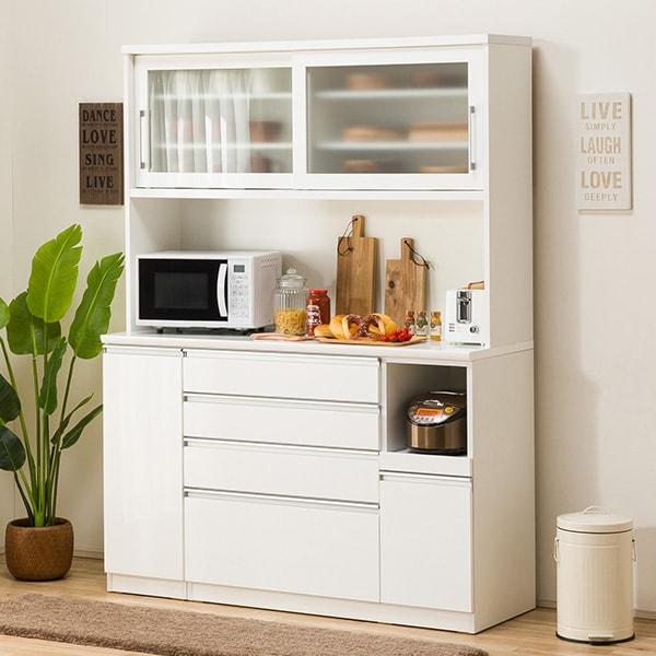 食器棚(レジューム 150TG-S WH/150SH-R WH) ニトリ 【配送員設置】 【5年保証】