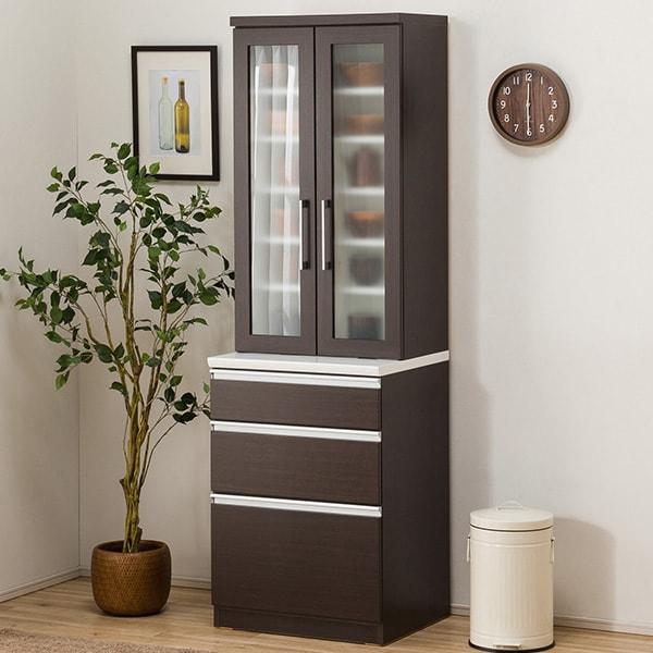 食器棚(レジューム 60TG-H DBR/60SL DBR) ニトリ 【配送員設置】 【5年保証】