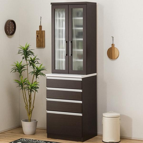 食器棚(レジューム 60TG-H DBR/60QH DBR) ニトリ 【配送員設置】 【5年保証】