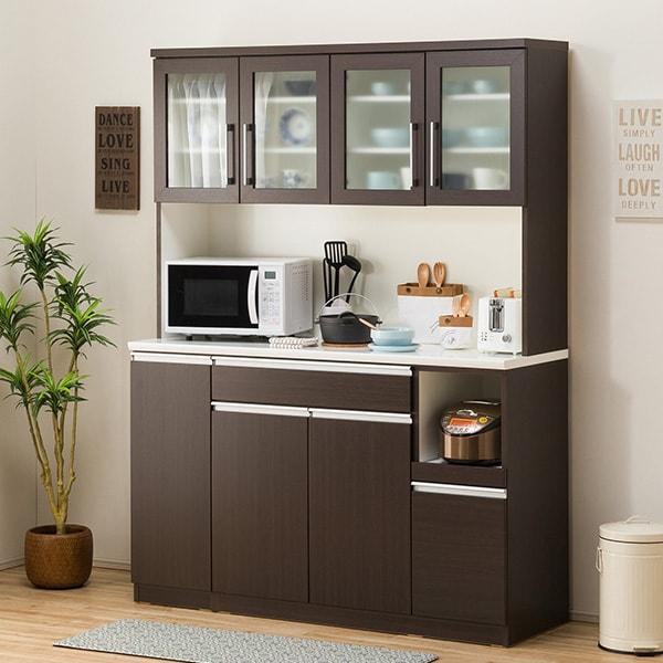 食器棚(レジューム 150TG-H DBR/150TH-R DBR) ニトリ 【配送員設置】 【5年保証】