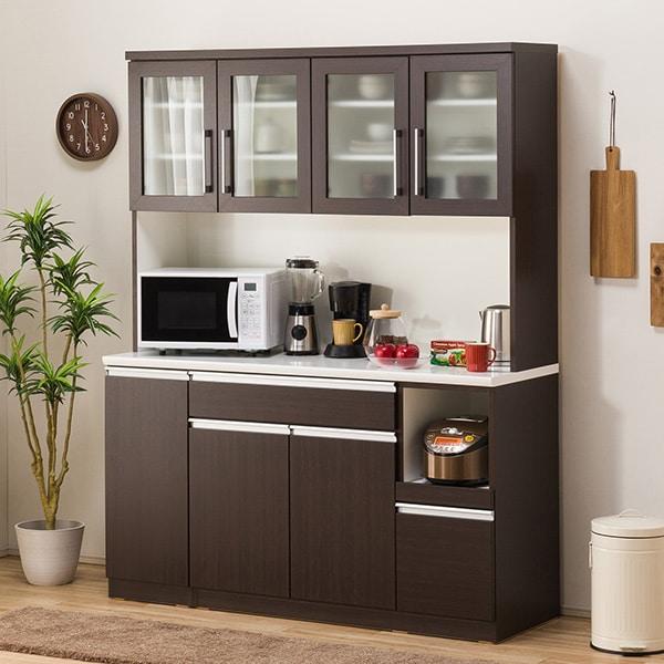 食器棚(レジューム 150TG-H DBR/150TL-R DBR) ニトリ 【配送員設置】 【5年保証】