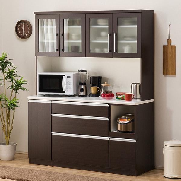 食器棚(レジューム 150TG-H DBR/150QL-R DBR) ニトリ 【配送員設置】 【5年保証】