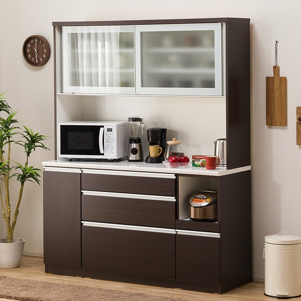 食器棚(レジューム 150AG-S DBR/150SL-R DBR) ニトリ 【配送員設置】 【5年保証】