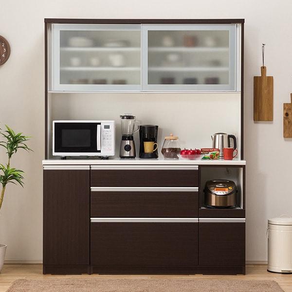 食器棚(レジューム 150AG-S DBR/150QL-R DBR) ニトリ 【配送員設置】 【5年保証】