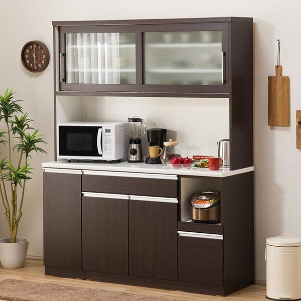 食器棚(レジューム 150TG-S DBR/150TL-R DBR) ニトリ 【配送員設置】 【5年保証】
