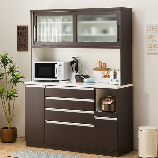 食器棚(レジューム 150TG-S DBR/150QH-R DBR) ニトリ 【配送員設置】 【5年保証】