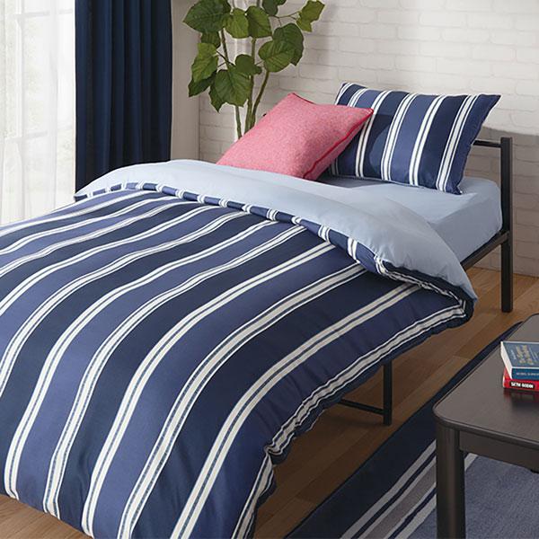 ベッド用寝具6点セット 布団セット セミダブル(ストライプ NV/ST SD) ニトリ 【玄関先迄納品】